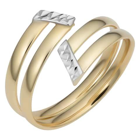Fremada Italian 14k Two-Tone Gold 12 millimeter Double Bypass Ring