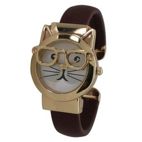 Olivia Pratt Women's Cat-in-Glasses Bangle Watch