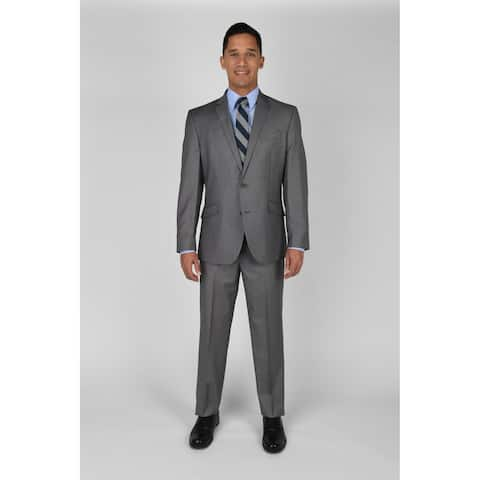 "KC Technicole Lt Grey Basketweave Suit with 32"" inseam"