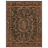 Kala Bage Pak-Persian Elva Black/Rose Wool Rug (9'2 x 12'6) - 9 ft. 2 in. x 12 ft. 6 in.