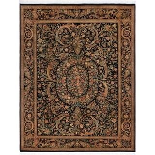 "Kala Bage Pak-Persian Elva Black/Rose Wool Rug (9'2 x 12'6) - 9' 2"" x 12' 6"""