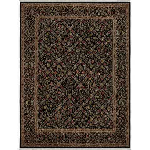 "Pak-Persian Dalia Black/Bluish Gray Wool Rug - 9' 2"" x 12' 2"""