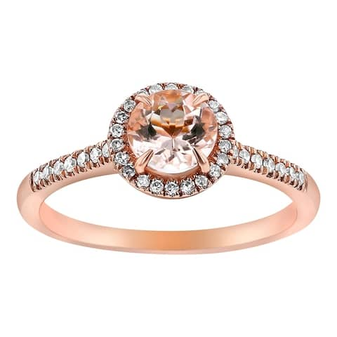 14k Rose Gold Diamonds and Round Morganite Halo Ring by Beverly Hills Charm