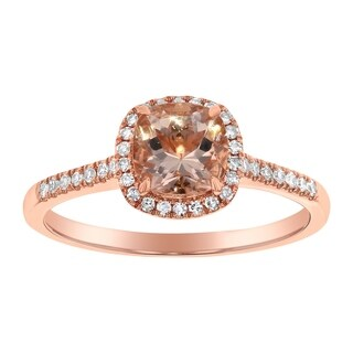 14k Rose Gold 1/6ct TDW Diamonds and Cushion Morganite Halo Ring