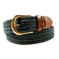 Mens Woven Stretch Belt Black and Grey Two Tone Gold Buckle