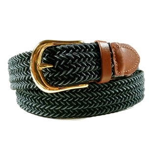 Mens Woven Stretch Belt Black and Grey Two Tone Gold Buckle (More options available)