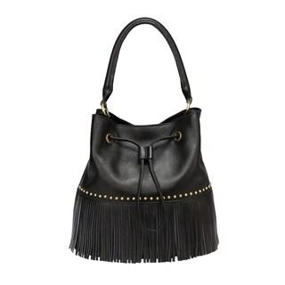 Zurie Leather Fringe Bucket Bag