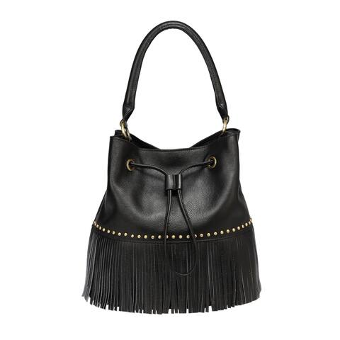 Zurie Leather Fringe Bucket Bag