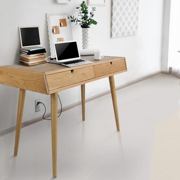 Freedom Desk with USB Ports Made of Solid American Oak