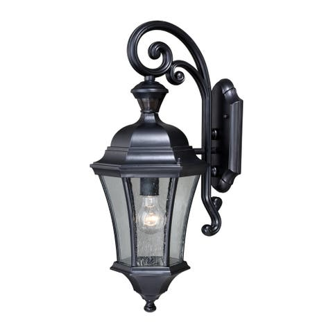Aberdeen Black Motion Sensor Dusk to Dawn Outdoor Wall Light - 9.5-in W x 23-in H x 11-in D