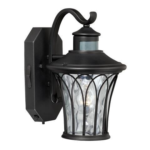 Abigail Black Motion Sensor Dusk to Dawn Outdoor Wall Light - 7.5-in W x 12.25-in H x 9.25-in D