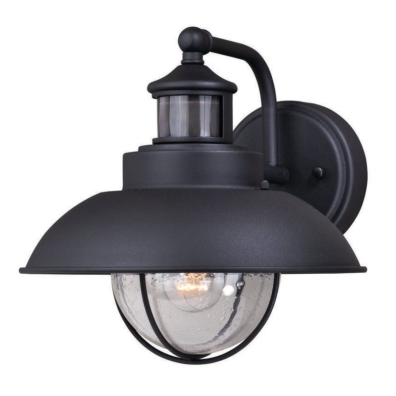 Harwich Black Motion Sensor Dusk To Dawn Coastal Outdoor Wall Light 10 In W X H 12 D
