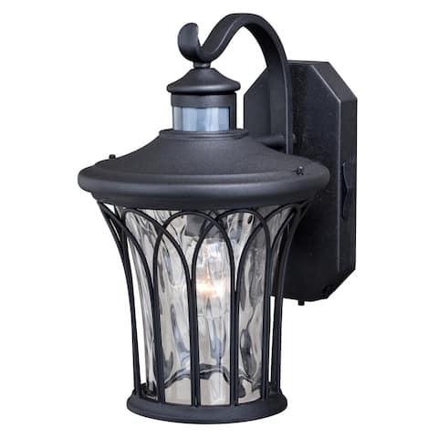 Abigail Black Motion Sensor Dusk to Dawn Outdoor Wall Light - 9-in W x 14-in H x 11-in D