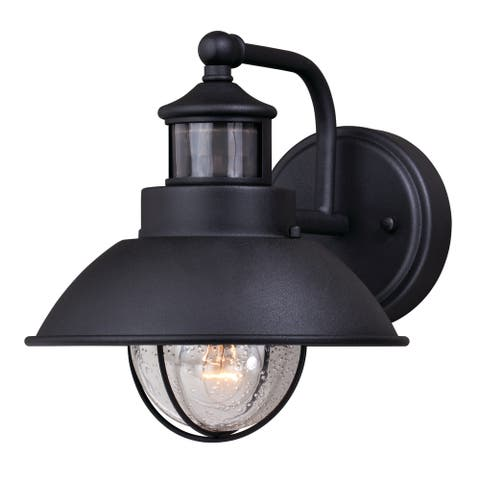 Harwich Black Motion Sensor Dusk to Dawn Coastal Outdoor Wall Light - 8.25-in W x 9-in H x 11-in D