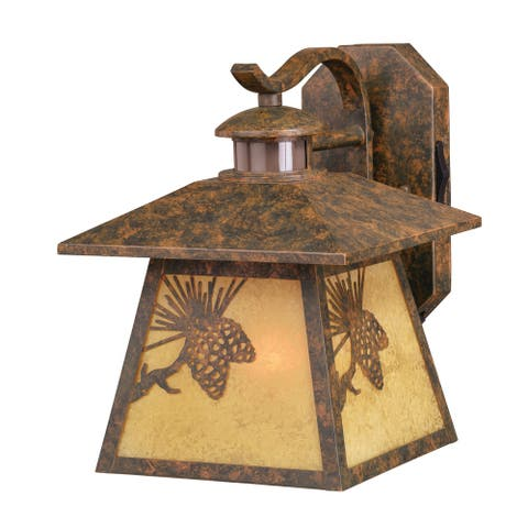 Whitebark Bronze Motion Sensor Dusk to Dawn Rustic Outdoor Wall Light Pinecone Motif - 9.25-in W x 11.5-in H x 11.75-in D