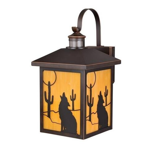 Calexico Bronze Motion Sensor Dusk to Dawn Outdoor Rustic Wall Light Cactus Coyote Motif - 9.5-in W x 18.25-in H x 12-in D
