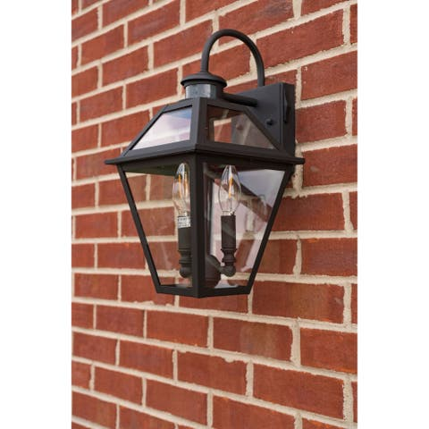 Nottingham Black Motion Sensor Dusk to Dawn Outdoor Wall Light - 8.5-in W x 16.5-in H x 9.5-in D