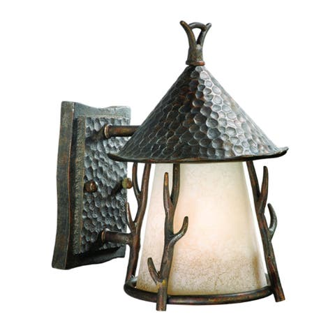 Woodland 1 Light Bronze Rustic Outdoor Wall Lantern Cream Glass - 7-in W x 10.25-in H x 8.5-in D