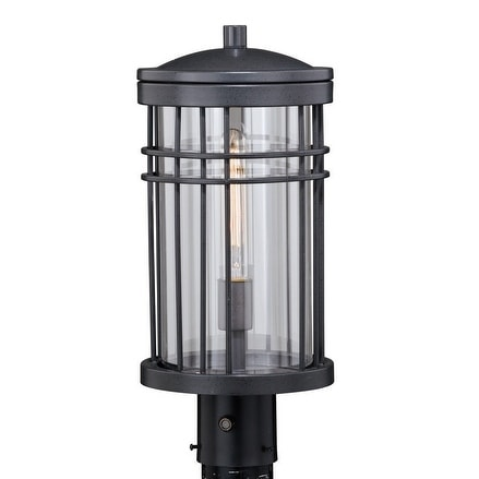 Wrightwood Black Dusk to Dawn Outdoor Post Light with Clear Glass - 8-in W  x 18-in H x 8-in D