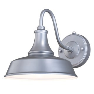 Dorado 1 Light Dusk to Dawn Silver White Farmhouse Barn Dome Outdoor Wall Lantern - 9-in W x 9-in H x 13.25-in D