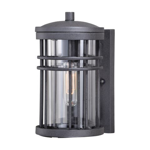 Wrightwood 1 Light Dusk to Dawn Black Outdoor Wall Lantern Clear Glass - 6-in W x 10.75-in H x 7.5-in D