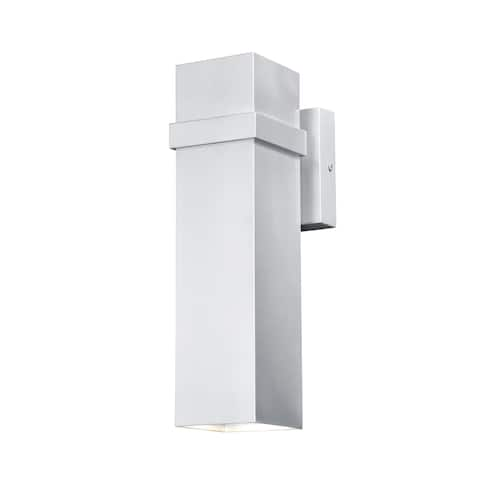 Lavage Aluminum 2 Light LED Nickel Rectangle Outdoor Wall Lantern - 4-in W x 14-in H x 5.5-in D