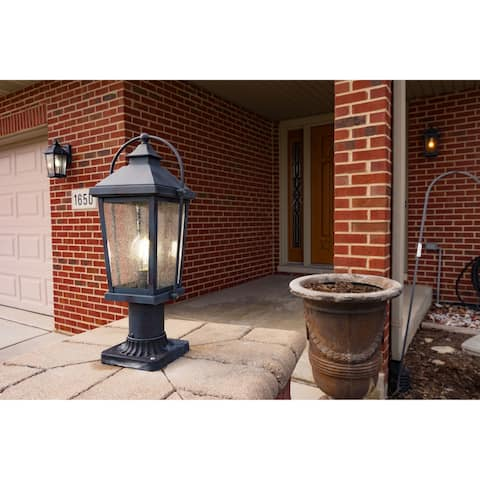 Lexington 1 Light Dusk to Dawn Black Rectangle Outdoor Wall Lantern Clear Glass - 7.5-in W x 14.5-in H x 8-in D