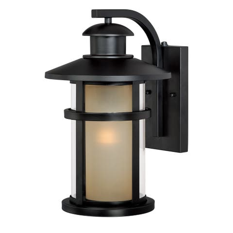 Cadiz 1 Light Dusk to Dawn Bronze Mission Cylinder Outdoor Wall Lantern - 10-in W x 15.5-in H x 11.75-in D