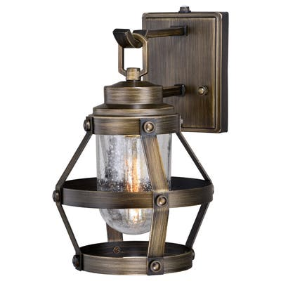 Bruges 1 Light Dusk to Dawn Bronze Industrial Cage Outdoor Wall Lantern Clear Glass - 9-in W x 14-in H x 11-in D