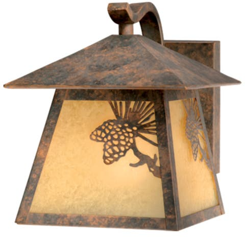 Whitebark 1 Light Bronze Rustic Pinecone Outdoor Wall Lantern Amber Glass