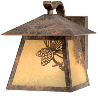 Whitebark 1 Light Bronze Rustic Pinecone Outdoor Wall Lantern Amber Glass