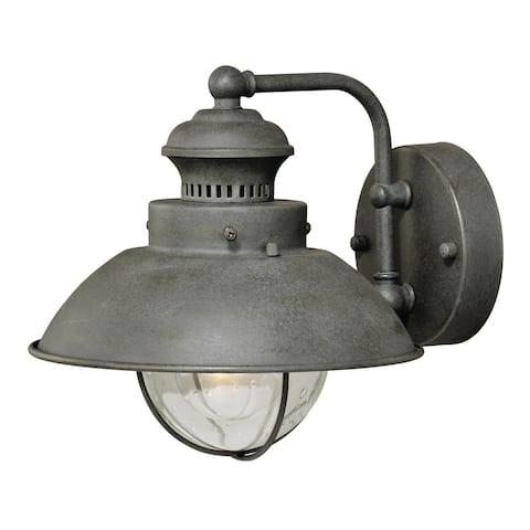 Harwich 1 Light Gray Coastal Barn Dome Outdoor Wall Lantern Clear Glass - 9-in W x 8-in H x 8-in D