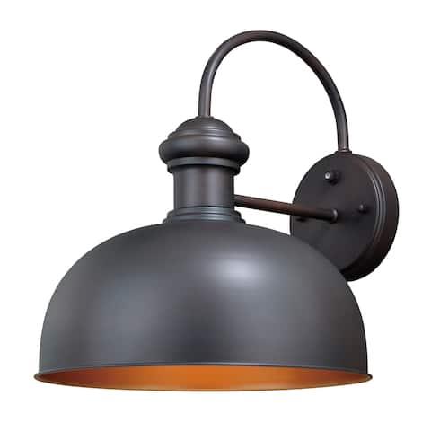 Franklin 1 Light Dusk to Dawn Farmhouse Barn Dome Outdoor Wall Lantern