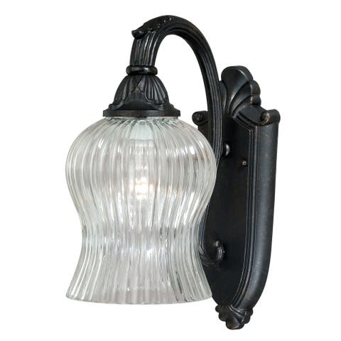 York 1 Light Black Bell Outdoor Wall Lantern Clear Glass - 5.25-in W x 12.75-in H x 9-in D