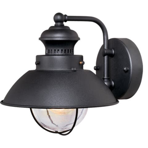 Harwich 1 Light Black Coastal Barn Dome Outdoor Wall Lantern Clear Glass - 8-in W x 8-in H x 9.25-in D
