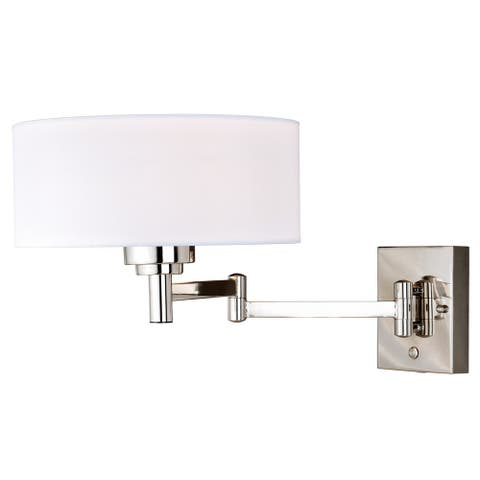 Chapeau Plug-In Polished Nickel Drum Motion Sensor Swing Arm Wall Lamp White Silk Shade - 12-in W x 11.25-in H x 22.75-in D