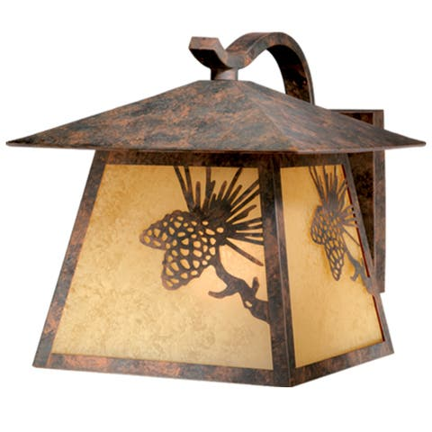 Whitebark 1 Light Bronze Rustic Pinecone Outdoor Wall Lantern Amber Glass - 11-in W x 11.5-in H x 13.5-in D