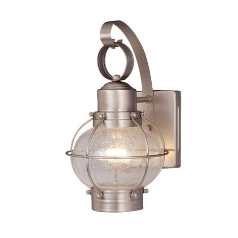 Chatham 1 Light Brushed Nickel Coastal Outdoor Wall Lantern Clear Glass - 6.5-in W x 12-in H x 7.25-in D