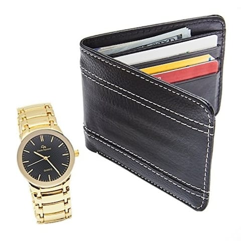 Men's Elegant Wallet and Metal Classy Gold Tone Watch Gift Set - Black