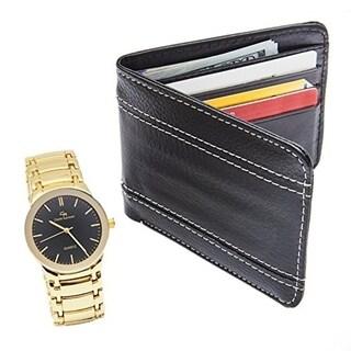 Men's Elegant Wallet and Metal Classy Gold Tone Watch Gift Set - Black