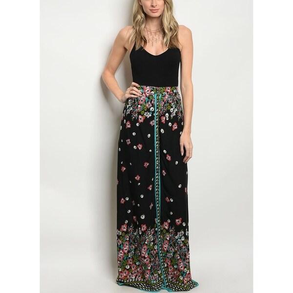 JED Women's High Waist Floral Maxi Skirt