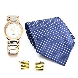 Men's Tie & Cuff-links Gold and Silver Casual Watch set