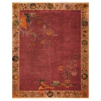 Handmade Herat Oriental Chinese Hand-knotted Antique Art Deco 1920's Wool Rug  - 7'10 x 9'8 (China)