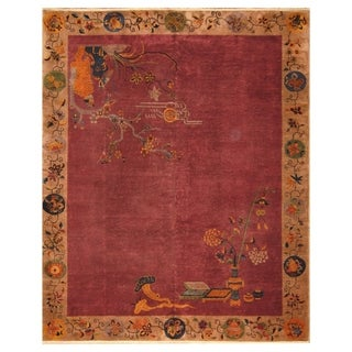 Handmade Herat Oriental Chinese Hand-knotted Antique Art Deco 1920's Wool Rug (7'10 x 9'8) - 7'10 x 9'8