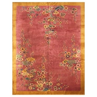 Handmade Herat Oriental Chinese Hand-knotted Antique Art Deco 1920's Wool Rug (9'10 x 11'5)