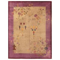 Handmade Herat Oriental Chinese Hand-knotted Antique Art Deco 1920's Wool Rug  - 8'8 x 11'5 (China)
