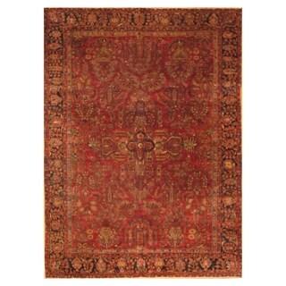 Handmade Herat Oriental Persian Hand-knotted Antique Sarouk 1920's Wool Rug (Iran) - 8'6 x 11'2