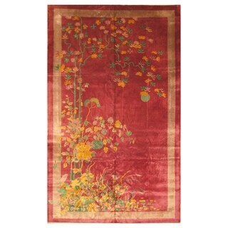 Handmade Herat Oriental Chinese Hand-knotted Antique Art Deco 1920's Wool Rug (8'9 x 14'3) - 8'9 x 14'3