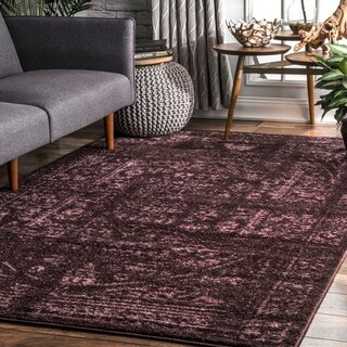 Porch & Den Burgandy Williamsburg Montrose Vintage Distressed Ring Area Rug - 5' x 8'