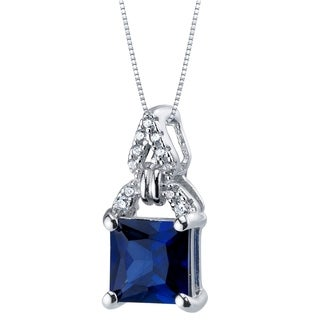 2 Carat Created Blue Sapphire Sterling Silver Portico Pendant Necklace